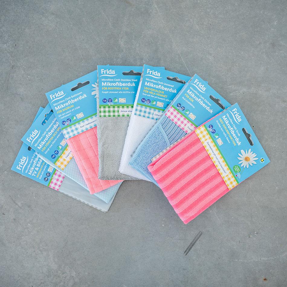 Städprodukter i mikrofiber.