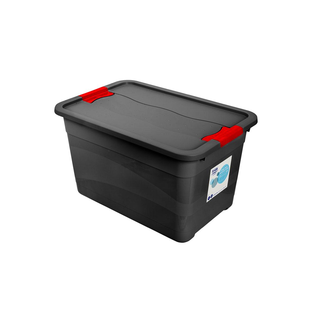 Förvaringsback med lock i extra slagtålig plast |  Frida Storage