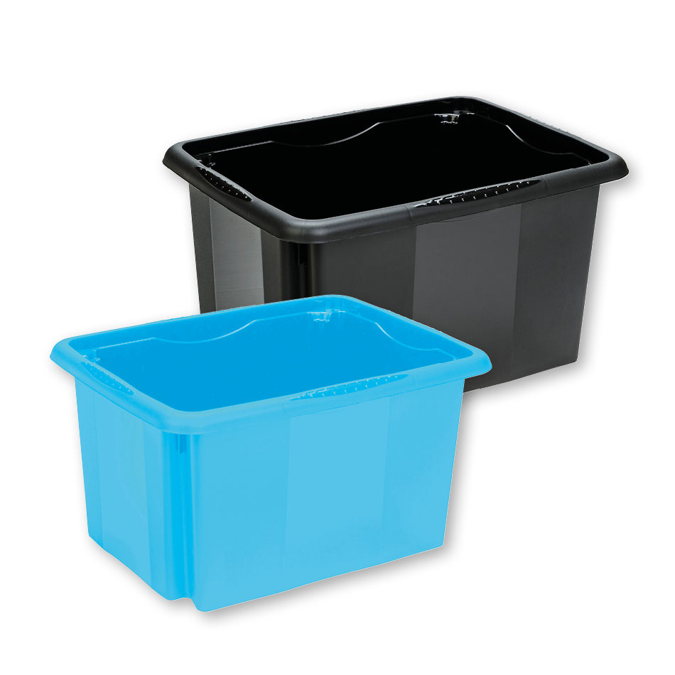 Stackable plastic trays.